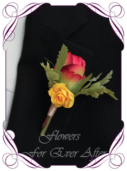 A Gorgeous Silk Artificial vibrant groomsman, grooms, gents, mens button boutonniere for wedding, formal, prom. Red rose and yellow rose. Made in Melbourne by Australia's Best Artificial Bridal Florist. Worldwide Shipping available