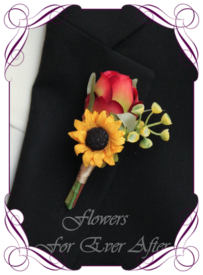 A Gorgeous Silk Artificial vibrant groomsman, grooms, gents, mens button boutonniere for wedding, formal, prom. Red rose and yellow sunflower. Made in Melbourne by Australia's Best Artificial Bridal Florist. Worldwide Shipping available