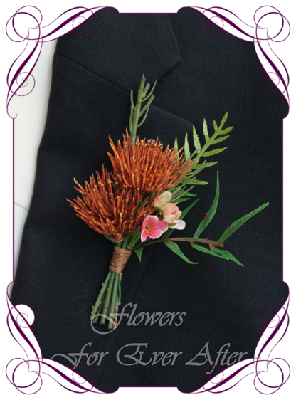 Silk artificial native Australian boho unusual rustic mens button boutonniere wedding prom formal. protea bud, native flowers. Rust burnt orange and pink unusual wedding flowers, unusual mens pocket flower. Made in Melbourne by Australia's best silk florist. Buy online. Shipping worldwide