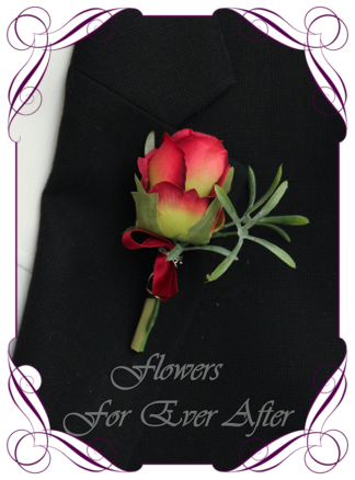 A Gorgeous Silk Artificial vibrant groomsman, grooms, gents, mens button boutonniere for wedding, formal, prom. Red rose and green. Made in Melbourne by Australia's Best Artificial Bridal Florist. Worldwide Shipping available