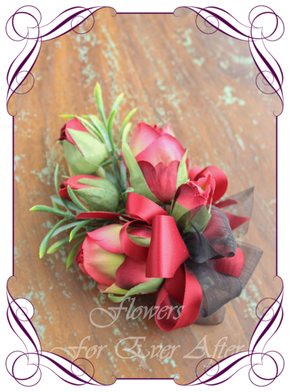 Silk artificial moody boho unusual rustic mens button boutonniere wedding prom formal. Burgundy rose bud, native berries. wedding flowers, unusual mens pocket flower. Made in Melbourne by Australia's best silk florist. Buy online. Shipping worldwide