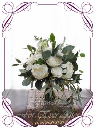 Elegant rustic silk artificial white and ivory peonies, roses and Australian native bridal bouquet wedding flowers. Romantic wedding. Navy wedding. Dusty pink wedding. Blush pink wedding. Mauve wedding. Realistic silk flowers, whimsical rustic style posy. Made in Melbourne. Shipping world wide, buy online.