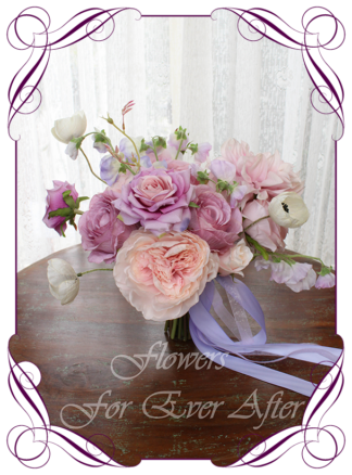 Silk artificial floral pastel pink lilac and purple bridal wedding bouquet. Roses, peonies, poppies, dahlia. Romantic elegant wedding flowers. Made in Melbourne Australia. Buy online, post worldwide.