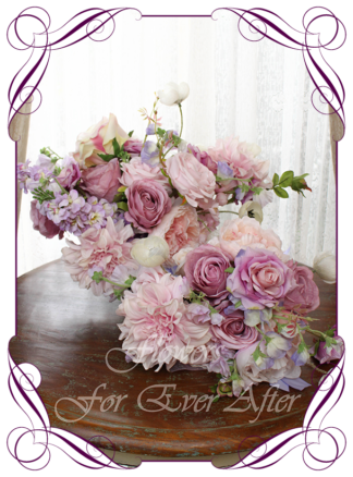 Silk artificial floral pastel pink lilac and purple bridal wedding bouquet package set. Roses, peonies, poppies, dahlia. Romantic elegant wedding flowers. Made in Melbourne Australia. Buy online, post worldwide.