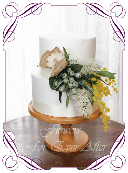 Realistic silk artificial fake flower native Australian wattle, bottle brush and gum nut cake topper floral decoration. Made in Melbourne. Shipping world wide. Buy online