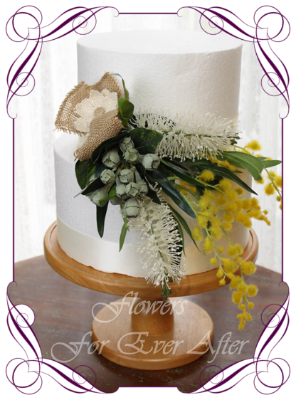 Realistic silk artificial fake flower rustic native Australian wattle, bottle brush and gum nut cake topper floral decoration. For fondant icing, naked cake, or cheese wheel cake.Made in Melbourne. Shipping world wide. Buy online