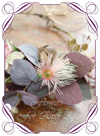 Realistic silk artificial fake flower rustic native Australian bridal halo crown with burgundy blue gum and blush gum flowers. For wedding, engagement, hens, birthday occasions. Boho design. Made in Melbourne. Shipping world wide. Buy online