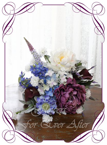 A Gorgeous Silk Artificial purple, lilac, blue, and white rustic Bridal Bouquet posy, featuring faux flowers with calla lilies, peony, lily, hydrangea, boho romantic elegant and unusual bridal style, traditional wedding bouquets. Made in Melbourne by Australia's Best Artificial Bridal Florist. Worldwide Shipping available