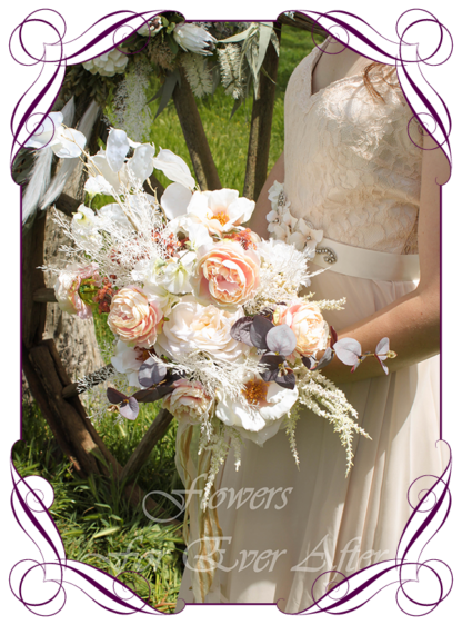 A Gorgeous Silk Artificial Bridal Bouquet package set, featuring faux flower roses, dark leaves, peonies, champagne flowers, white fern, dollar, and textures in a romantic elegant and unusual bridal style, champagne pink burgundy cream wedding flowers, soft moody romantic wedding bouquets. Made in Melbourne by Australia's Best Artificial Bridal Florist. Worldwide Shipping available