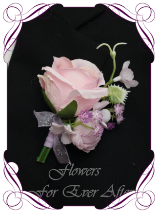 silk artificial gents mens button grooms groomsmans boutonierre for wedding and formal / prom. Pink rose bud with lilac purple flowers.. Made in Melbourne Australia. Buy online, shipping world wide.