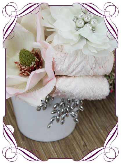 Silk wedding bridal gift Flower Arrangements, Mother's Day Flowers Artificial flower gift arrangements, home decor floral arrangements, silk blush and white flowers, artificial pot set flowers.. made in Melbourne by Australia's best artificial florist