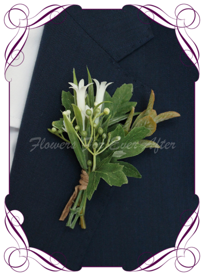 silk artificial gents mens button grooms groomsmans boutonniere for wedding and formal / prom. Ivory White foliage fern and leaves. Made in Melbourne Australia. Buy online, shipping world wide.