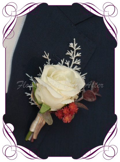 silk artificial gents mens button grooms groomsmans boutonniere for wedding and formal / prom. Ivory White rose bud rust burnt orange and white accent flowers. Elegant and classic. Made in Melbourne Australia. Buy online, shipping world wide.