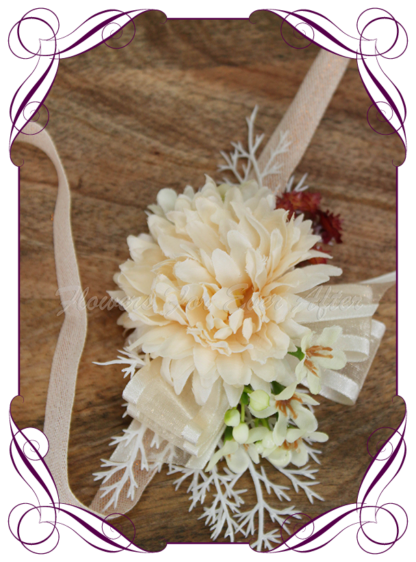 silk artificial ladies or children's wrist corsage for wedding and formal / prom. Cream ivory and rust burnt orange classic elegant corsage. Made in Melbourne Australia. Buy online, shipping world wide.