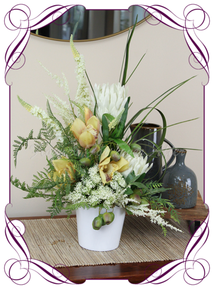 Silk wedding bridal gift Flower Arrangements, Mother's Day Flowers Artificial flower gift arrangements, home decor floral arrangements, silk protea, orchids, gumnuts, artificial pot set flowers.. made in Melbourne by Australia's best artificial florist