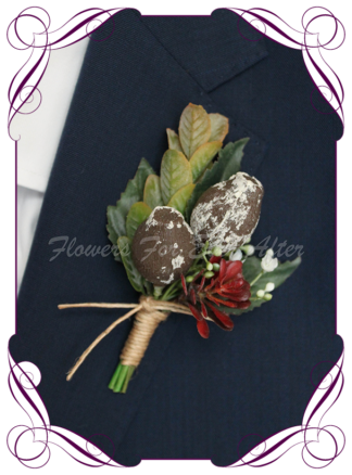 silk artificial gents mens button grooms groomsmans boutonniere for wedding and formal / prom. Australian native gumnuts and leaves with rust burnt orange. Made in Melbourne Australia. Buy online, shipping world wide.