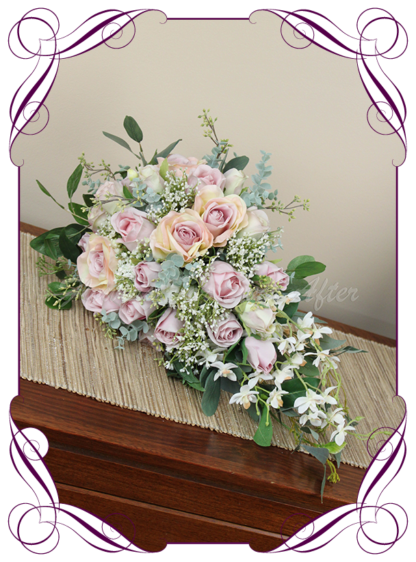 Silk bridal bouquet artificial wedding flowers floral pastel pink tear cascade bridal wedding bouquet. Roses, baby's breath, Australian native gum leaves. Romantic elegant wedding flowers. Made in Melbourne Australia. Buy online, post worldwide.