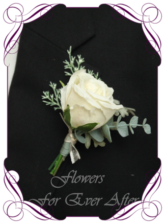 silk artificial gents mens button grooms groomsmans boutonniere for wedding and formal / prom. Ivory White rose bud with Australian native gum leaves. Made in Melbourne Australia. Buy online, shipping world wide.