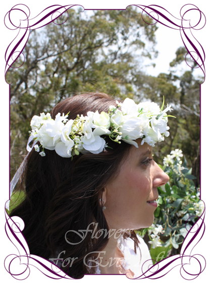 silk artificial white floral halo crown for bride , hens night, kitchen tea, or birthday. Baby's breath, sweet pea, and lilies in a thick floral halo. Made in Melbourne Australia. Buy online, shipping world wide.