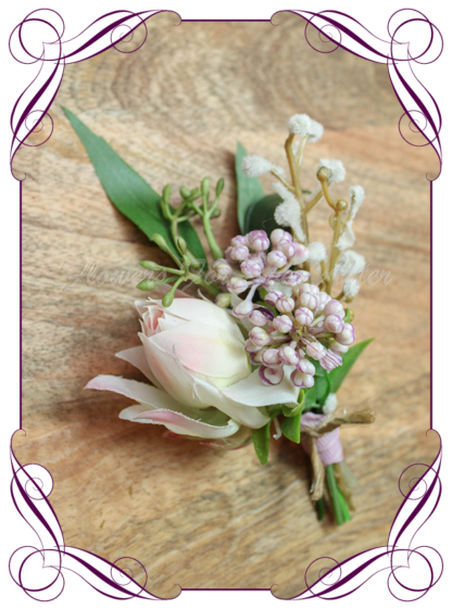 silk bridal flowers artificial wedding flowers gents mens button grooms groomsmans boutonierre for wedding and formal / prom. Australian native boutonniere with gumnut eucalyptus leaves, blush protea, and mauve purple berries. Made in Melbourne Australia. Buy online, shipping world wide.