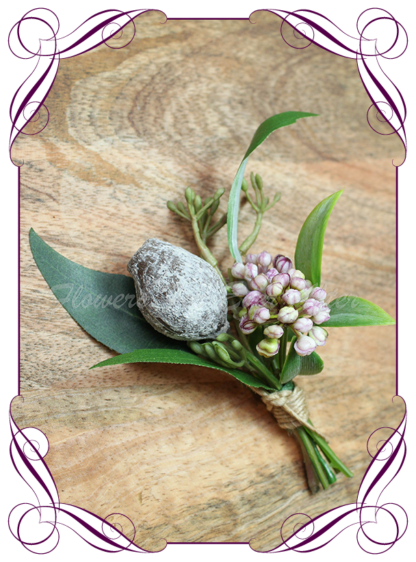 silk bridal flowers artificial wedding flowers gents mens button grooms groomsmans boutonierre for wedding and formal / prom. Australian native boutonniere with gumnut eucalyptus leaves and mauve purple berries. Made in Melbourne Australia. Buy online, shipping world wide.
