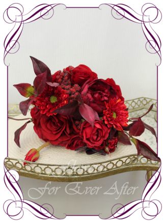 Silk artificial moody boho floral deep red and burgundy cascade bridal wedding bouquet. Roses, red baby's breath, gerbera. Romantic elegant wedding flowers. Made in Melbourne Australia. Buy online, post worldwide.