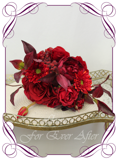 Silk artificial moody bridesmaid bouquet, boho wedding flowers, floral deep red and burgundy cascade bridal wedding bouquet. Roses, red baby's breath, gerbera. Romantic elegant wedding flowers. Made in Melbourne Australia. Buy online, post worldwide.