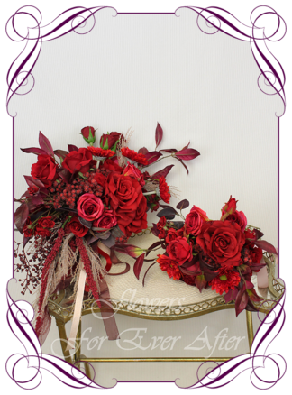 Silk artificial moody bridal bouquet, boho wedding flowers, floral deep red and burgundy cascade bridal wedding bouquet. Roses, red baby's breath, gerbera. Romantic elegant wedding flowers. Made in Melbourne Australia. Buy online, post worldwide.