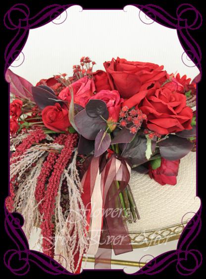 Silk artificial moody bridal bouquet, boho wedding flowers, floral deep red and burgundy cascade bridal wedding bouquet. Roses, red baby's breath, gerbera. Romantic elegant wedding flowers. Made in Melbourne Australia. Buy online, post worldwide.