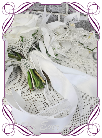 Silk white bridal flowers, artificial white floral wedding bouquet, boho whimsical bridal wedding flowers. Roses, peony, protea, phalaenopsis moth orchids, reflex roses. Romantic elegant wedding flowers. Made in Melbourne Australia. Buy online, post worldwide.