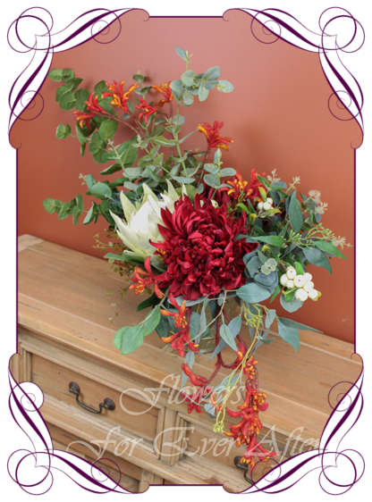 Realistic silk artificial flower vase decoration fake flower rustic native Australian artificial vase arrangement king protea, burgundy red, kangaroo paw, blue gum and eucalypt gum.Made in Melbourne. Shipping world wide. Buy online