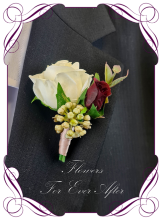 Silk boutonniere artificial elegant ivory and red rose boho mens button boutonniere wedding prom formal. Unusual wedding flowers, unusual mens pocket flower, men's fashion. Made in Melbourne by Australia's best silk florist. Buy online. Shipping worldwide