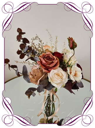 Artificial moody boho bridesmaid bouquet, silk floral burgundy wedding posy coffee tan burnt orange rust cascade posy bridal wedding flowers. Roses, peonies, pampas, protea, native blue gum. Romantic elegant wedding flowers. Made in Melbourne Australia. Buy online, post worldwide.