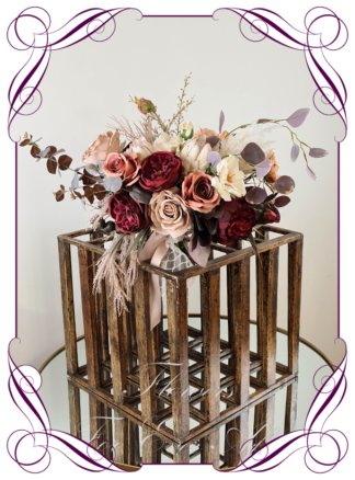 Artificial moody boho bridal bouquet, silk floral burgundy wedding posy coffee tan burnt orange rust cascade posy bridal wedding flowers. Roses, peonies, pampas, protea, native blue gum. Romantic elegant wedding flowers. Made in Melbourne Australia. Buy online, post worldwide.