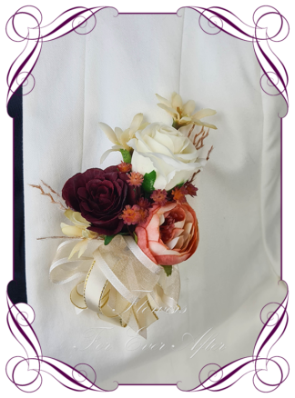 Silk corsage artificial elegant burnt orange ivory and red rose boho ladies button boutonniere corsage wedding prom formal. Unusual wedding flowers, unusual mothers pocket flower, ladies fashion. Made in Melbourne by Australia's best silk florist. Buy online. Shipping worldwide