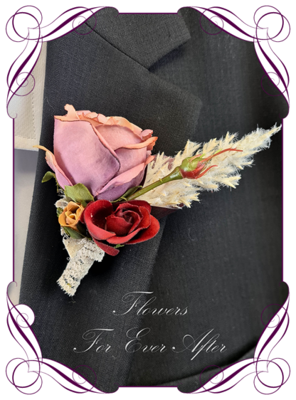 Silk boutonniere artificial elegant mauve and red rose boho mens button boutonniere wedding prom formal. Unusual wedding flowers, unusual mens pocket flower, men's fashion. Made in Melbourne by Australia's best silk florist. Buy online. Shipping worldwide