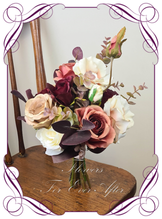 Silk bridesmaid posy artificial flower tan coffee, burgundy, burnt orange moody Australian native wedding flowers bridal or bridesmaids bouquet. Camellia, roses, wattle, blue gum, peony. Made in Melbourne Australia by Australia's best silk florist.