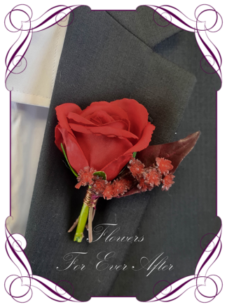 Silk artificial flower boutonniere elegant red rose mens button boutonniere wedding prom formal. Unusual wedding flowers, unusual mens pocket flower, men's fashion. Made in Melbourne by Australia's best silk florist. Buy online. Shipping worldwide