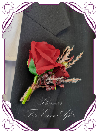 Silk boutonniere artificial elegant red rose mens button boutonniere wedding prom formal. Unusual wedding flowers, unusual mens pocket flower, men's fashion. Made in Melbourne by Australia's best silk florist. Buy online. Shipping worldwide