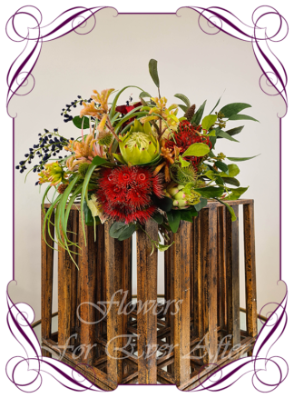 Silk bridal bouquet, artificial wedding flowers red green navy Australian native wedding flowers bridal bouquet. Protea, gum flowers, roses, succulent, kangaroo paw, navy blue wattle. Made in Melbourne Australia by Australia's best silk florist.