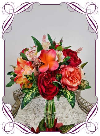 Realistic silk artificial bright and colourful tropical wedding flowers bridal or bridesmaids bouquet. Roses, dahlia, frangipani, peony, red, orange, coral, yellow. Made in Melbourne Australia by Australia's best silk florist. Buy online wedding flowers.