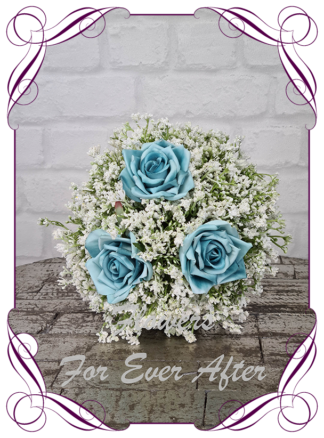 Silk baby's breath bridesmaids bouquet artificial white and aqua turquoise blue wedding flowers. Roses with White gyp, classic rustic posy design ideas. Made in Melbourne, by Australia's best only bridal florist.
