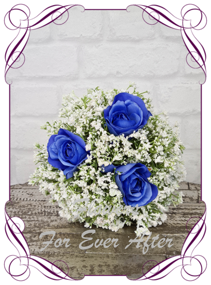 Silk baby's breath bridesmaids bouquet artificial white and royal blue wedding flowers. Roses with White gyp, classic rustic posy design ideas. Made in Melbourne, by Australia's best only bridal florist.