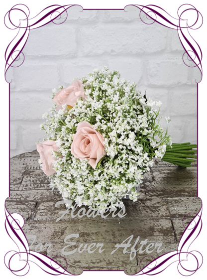 Silk baby's breath bridesmaids bouquet artificial white and blush pink wedding flowers. Roses with White gyp, classic rustic posy design ideas. Made in Melbourne, by Australia's best only bridal florist.