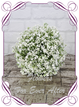 Silk baby's breath bridesmaids bouquet artificial white and white wedding flowers. White gyp, classic rustic posy design ideas. Made in Melbourne, by Australia's best only bridal florist.