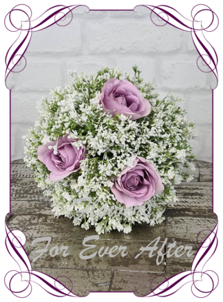 Silk baby's breath bridesmaids bouquet artificial white and light purple wedding flowers. Roses with white gyp, classic rustic posy design ideas. Made in Melbourne, by Australia's best only bridal florist.