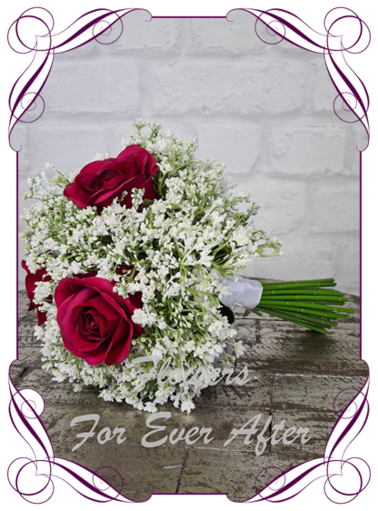 Silk baby's breath bridesmaids bouquet artificial white and raspberry red wedding flowers. Roses with white gyp, classic rustic posy design ideas. Made in Melbourne, by Australia's best only bridal florist.