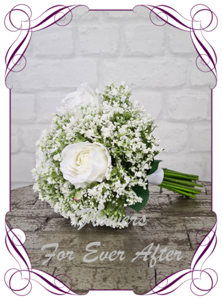 Silk baby's breath bridesmaids bouquet artificial white wedding flowers. White roses with white gyp, classic rustic posy design ideas. Made in Melbourne, by Australia's best only bridal florist.