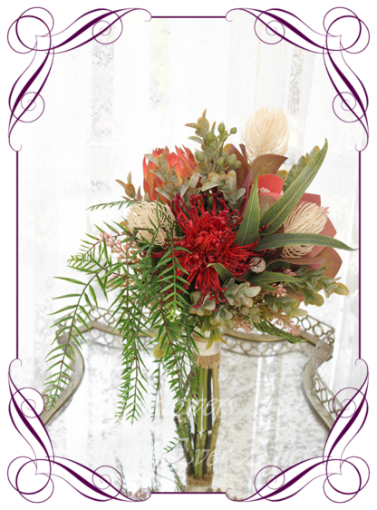 Silk artificial burnt orange, red, pink, native moody Australian native wedding flowers bridal or bridesmaids bouquet. King protea, pin cushion, wattle, red gum, gum leaves, banksia. Made in Melbourne Australia by Australia's best silk florist.