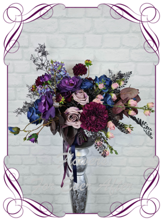 Silk purple wedding flowers, blue artificial bridal bouquet, plum, black wedding flowers bridal bouquet. Dahlia, hydrangea, rose. Goth wedding, gothic style flowers , Halloween wedding theme. Vibrant wedding colours. Depp moody bridal bouquet. Made in Melbourne Australia by Australia's best silk florist.